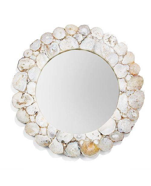 Two's Company White Agate Round Wall Mirror