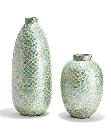 Capiz Green Decorative Vases - Set of 2