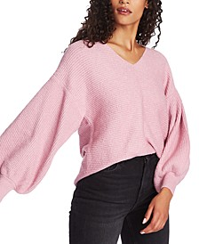 V-Neck Bubble-Sleeve Sweater