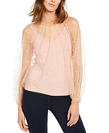 INC Embellished Tulle Mock-Neck Top, Created For Macy's