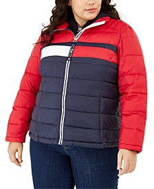 Plus Size Colorblocked Puffer Jacket