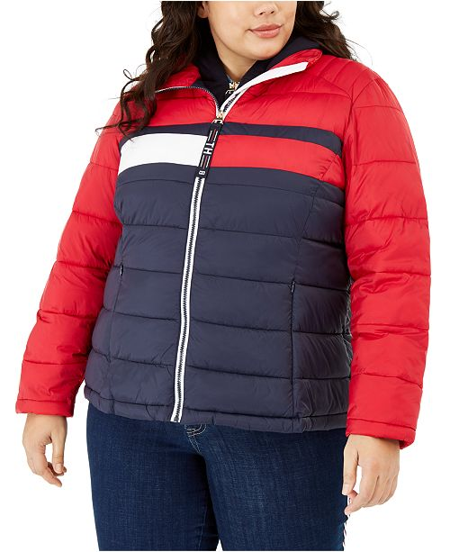 Tommy Hilfiger Plus Size Colorblocked Puffer Jacket