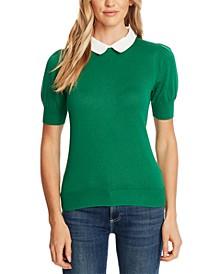 Short-Sleeve Collared Sweater