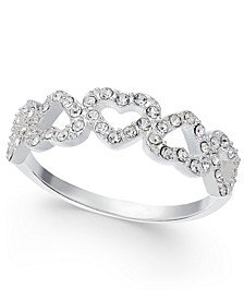 Silver-Tone Pavé Open Heart Ring, Created for Macy's