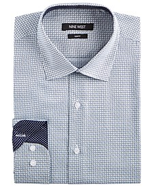 Men's Slim-Fit Wrinkle-Free Performance Stretch White & Navy Print Dress Shirt