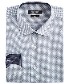 Men's Slim-Fit Wrinkle-Free Performance Stretch White & Navy Print Dress Shirt