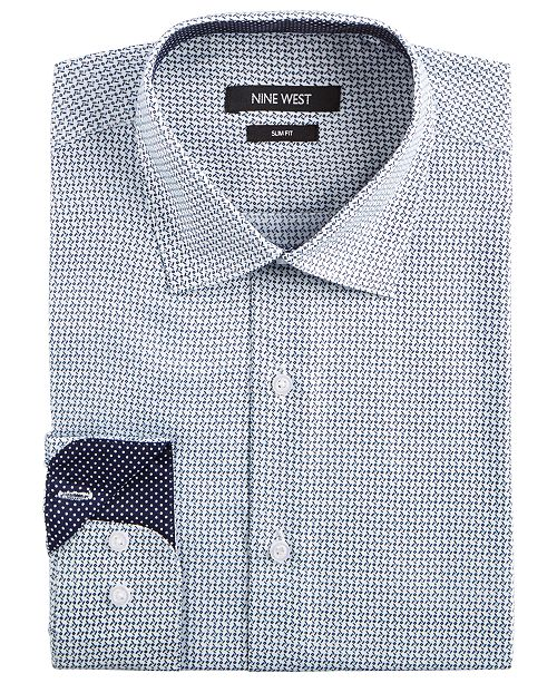 Nine West Men's Slim-Fit Wrinkle-Free Performance Stretch White & Navy Print Dress Shirt