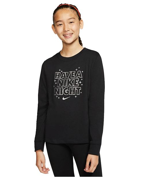Nike Big Girls Cotton Long-Sleeve T-Shirt