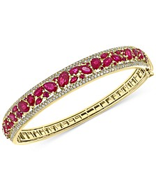 EFFY® Certified Ruby (7-1/6 ct. t.w.) & Diamond (1-1/6 ct. t.w.) Bangle Bracelet in 14k Gold