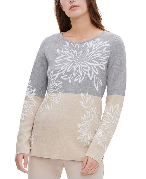 Calvin Klein Floral Colorblocked Sweater