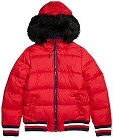 Women's Puffer Jacket with Faux Fur Hood and Magnetic Zipper