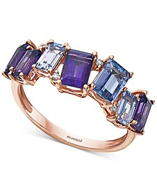 EFFY® Multi-Gemstone (2-1/2 ct. t.w.) Amethyst, Tanzanite & Diamond Accent Statement Ring in 14k Rose Gold