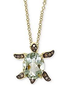 "EFFY® Green Amethyst (2-1/6 ct. t.w.) & Diamond (1/10 ct. t.w.) Sea Turtle 18"" Pendant Necklace in 14k Gold"