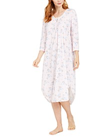 Floral-Print Knit Long Nightgown