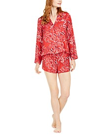 Women's Long-Sleeve Top & Short Pajama Set