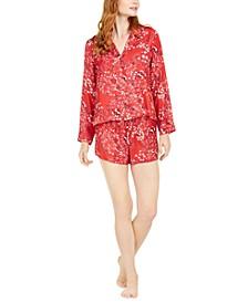 Women's Long-Sleeve Top & Short Pajama Set