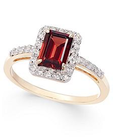 Garnet (1-1/4 ct. t.w.) & Diamond (1/4 ct. t.w.) Ring in 14k White Gold