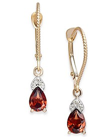Rhodolite Garnet (1-1/10 ct. t.w.) & Diamond Accent Drop Earrings in 14k Gold
