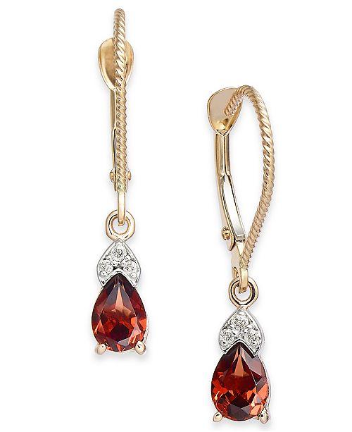 Macy's Rhodolite Garnet (1-1/10 ct. t.w.) & Diamond Accent Drop Earrings in 14k Gold
