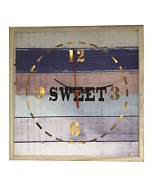 Square Lighted Clock with Sweet with Wooden Material
