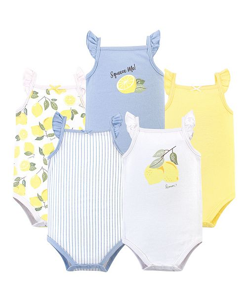 Hudson Baby Girl Sleeveless Bodysuits, Pack of 5