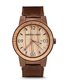 Men Tan Suede Leather Band Watch, 40mm