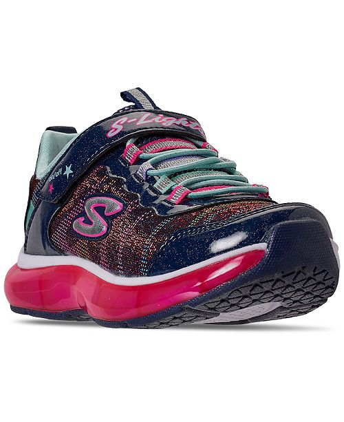 Skechers Little Girls S Lights Light Sparks Stay-Put Closure Light-Up Casual Sneakers from Finish Line