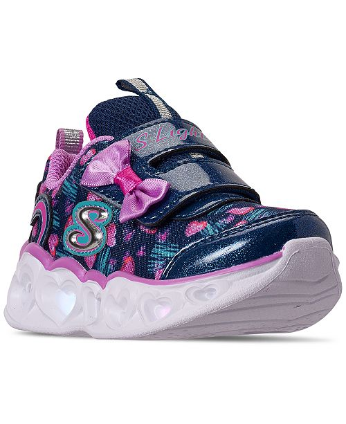 Skechers Toddler Girls S Lights Color Me Hearts Light-Up Stay-Put Closure Casual Sneakers from Finish Line