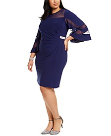 Plus Size Sheer-Sleeve Dress