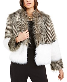 Colorblocked Faux-Fur Elton Jacket
