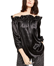 Satin Ruffled Off-The-Shoulder Top, Regular & Petite Sizes