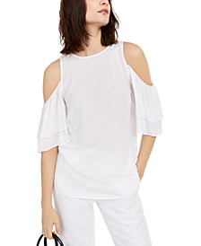 Flounce-Sleeve Cold-Shoulder Top