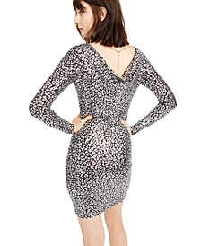 Leopard-Print Cowl-Neck-Back Dress