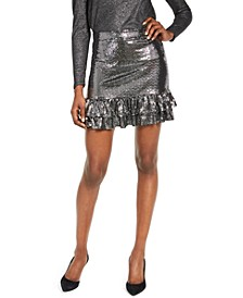 Mirror Metallic Tiered Skirt, Regular & Petite Sizes