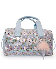 OMG Accessories Sweets Unicorn Print Metallic Duffle Bag