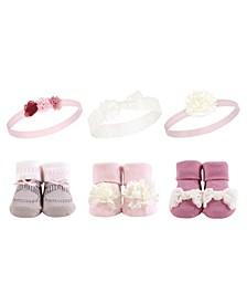 Baby Girl Headband and Socks Set 6-Piece