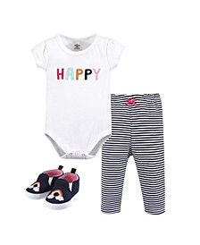 Baby Girl and Boy Bodysuit, Pants and Pair of Shoes