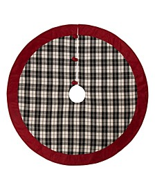 Plaid Fabric Christmas Tree Skirt with Red Trim