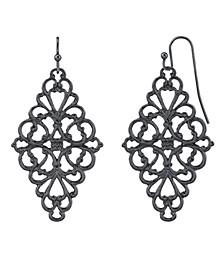 Black-Tone Filigree Diamond Drop Earrings