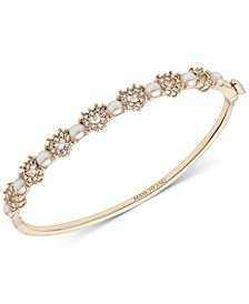 Gold-Tone Pavé Heart & Imitation Pearl Bangle Bracelet