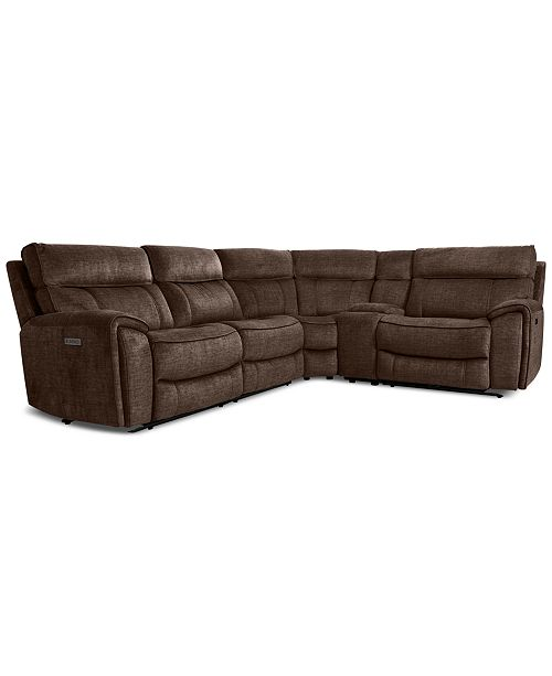 Furniture Hutchenson 5-Pc. Fabric Sectional with 2 Power Recliners, Power Headrests and Console