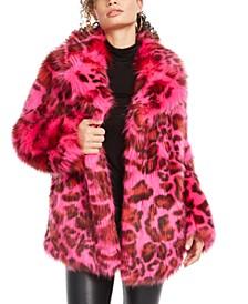 Poppie Printed Faux-Fur Coat