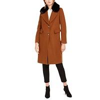 Deals on Calvin Klein Single-Breasted Faux-Fur Walker Coat