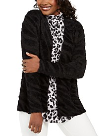 Petite Animal-Print Eyelash Cardigan, Created For Macys