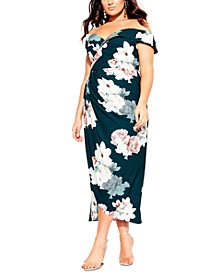 Trendy Plus Size Off-The-Shoulder Floral Faux-Wrap Dress