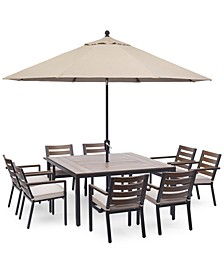 "Stockholm Outdoor Aluminum 9-Pc. Dining Set (61"" Square Dining Table & 8 Dining Chairs) with Sunbrella® Cushions, Created for Macy's"