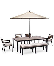 """Stockholm Outdoor Aluminum 6-Pc. Dining Set (84"""" x 42"""" Rectangle Dining Table, 4 Dining Chairs & Bench) with Sunbrella® Cushions, Created for Macy's"""
