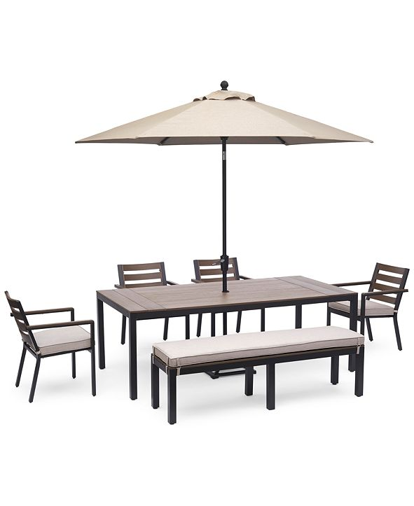 "Furniture Stockholm Outdoor Aluminum 6-Pc. Dining Set (84"" x 42"" Rectangle Dining Table, 4 Dining Chairs & Bench) with Sunbrella® Cushions, Created for Macy's"