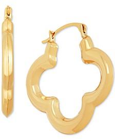 Clover Small Hoop Earrings in 10k Gold