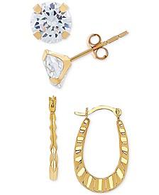 2-Pc. Set Cubic Zirconia Stud & Ruffle Oval Hoop Earrings in 10k Gold